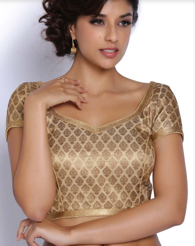 c66ac49d550b11 Golden Brocade Blouse at Rs 2798 /piece | ब्रोकैड ...