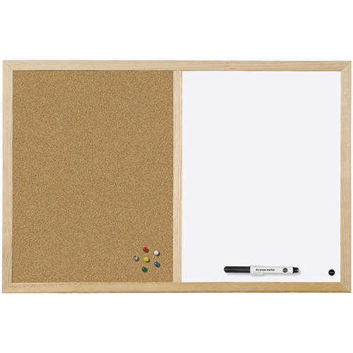 Writemark Brown And White Combined Cork Board, Frame Material: Wood ...