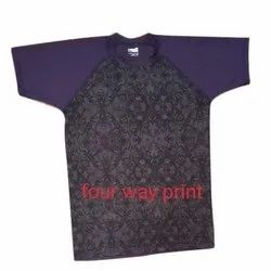 Cotton Casual Wear Mens Four Way Printed T-Shirt