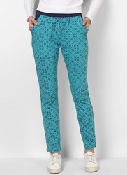 Sky Blue Printed Casual Lower