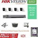 Feecom Hikvision 4k Full Hd 8mp Cameras Combo Kit 4ch Hd Dvr 4 Bullet Cameras 1tb Hard Disc Wire