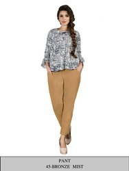 Regular Fit Designer Cotton Ladies Pants