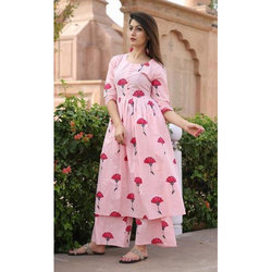 Ladies Pink Floral Kurtis