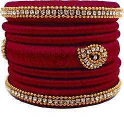 Maroon designer silk thread  bangle set