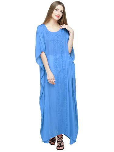 8d64cb862f6 Skavij Maxi Length Caftan Embroidered Rayon Kaftans Nightgown Plus Size  Dress Turquoise