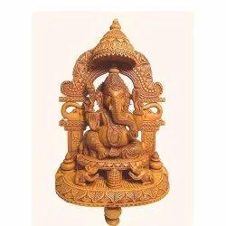 Handecor Brown Wooden Ganesh Idol, Size: 10 Inch