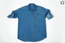 G Grace Collar Neck Blue Mens Denim Shirt