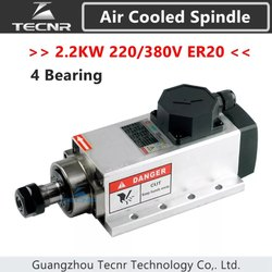 Spindle 2.2KW Air Cooled 220V/380V ER20 Collet Runout-off 0.01mm with 4 Pcs Baearing