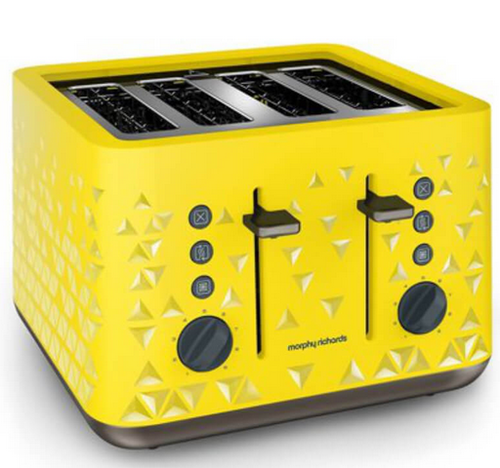 White Morphy Richards Prism Toaster Yellow 4 Slice