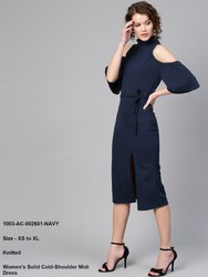 Women's Solid Cold-Shoulder Midi Dress