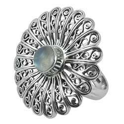 Big Royal Style 925 Silver Rainbow Moonstone Ring