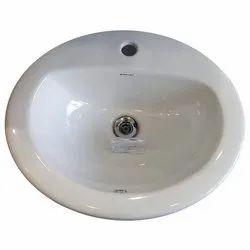 White Ceramic Countertop Oval Wash Basin