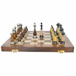 Brass and Wood Combination Sleek Combo Chess Set