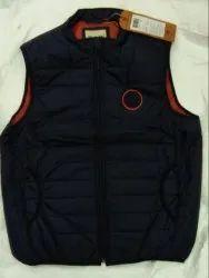 Black Polyester Men Sleeveless Jacket