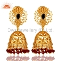 Natural Ruby Diamond Gold Plated Jhumka Earrings Jewelry