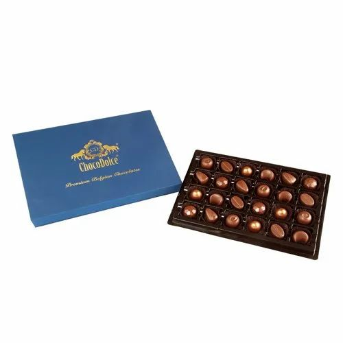 ChocoDolce Rectangular.circular Premium Belgian Couverture Chocolate with Roasted Assort Nuts-24Pc, Packaging Type: Box