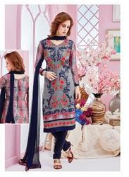 Georgette Navy Blue Embroidery Suit