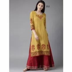 Long Designer Silk Printed Kurti