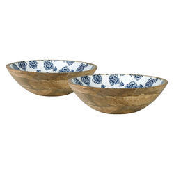 Wooden Bowl Set with Digital Print, Enamel