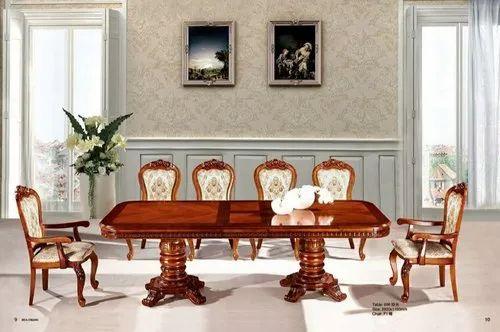 Handmade Brown Teak Wood Big Dining, Big Dining Room Table
