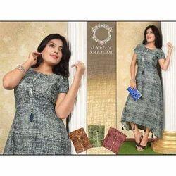 Half Sleeves Printed Rayon Kurti