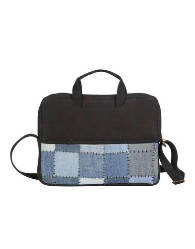 Cotton & Denim Checkered Office Laptop Bag