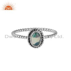 Ethiopian Opal Gemstone Oxidized 925 Silver Rings Jewelry