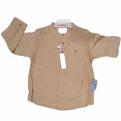 Brown Cotton Kids Party Wear Shirt