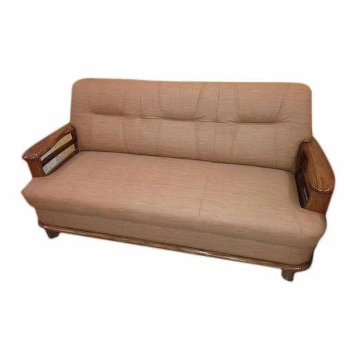 Steelam Brown 3 Seater Sofa Set With Segun Wood Handle Rs 22500