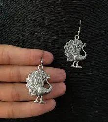 Oxidized Peacock Earrings
