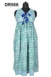 Cotton Hand Block Printed Women Long Maxi Dress DR566