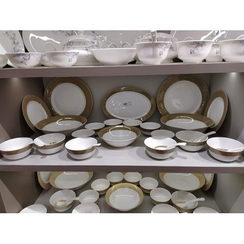 White Ceramic 24 Pieces Dinner Set For