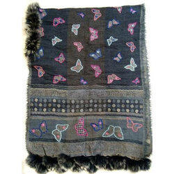 Boiled Wool Hand Embroidery Fur Ladies Shawls