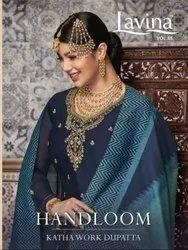 Lavina Vol-85 Handloom Katha Work Dupatta Straight Salwar Kameez Catalog