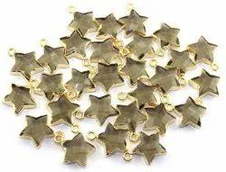 Smoky Quartz Star Shape Gold Plated Pendant