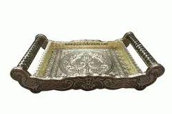 6 Glass Wooden Tray Oxidized
