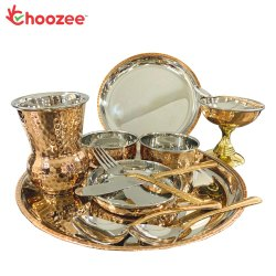 Choozee - Copper Thali Set (12 Pcs) of Plate, Bowl, Spoon, Matka Glass, Ice-Cream Cup, Knife & Fork