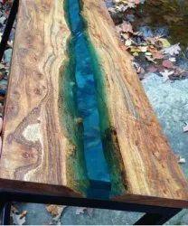Rectangular Wood Epoxy Table, Size: 42x18x1 Inch