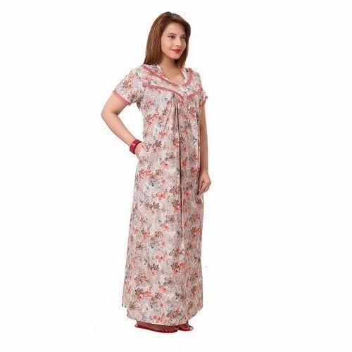 Printed Stitched Stylish Cotton Nightgown 00be4cf17