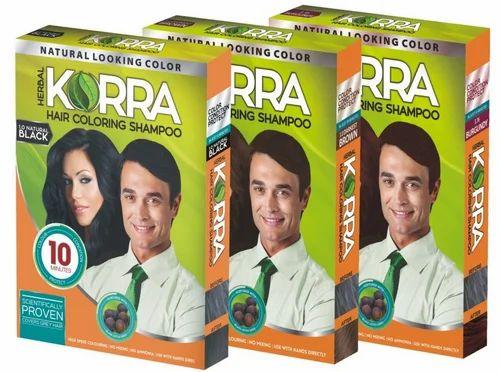 Korra Hair Coloring Shampoo (black) Pack Of 5