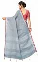 Sangini Grey Pure Linen Cotton Saree