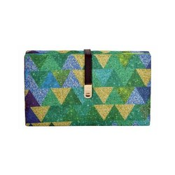 Multi Tassar Silk with Blue Yellow and Green Pyramid Design Casual Designs Clutch