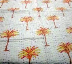 Block Printed Palm Tree Baby Quilt Dohar Blanket