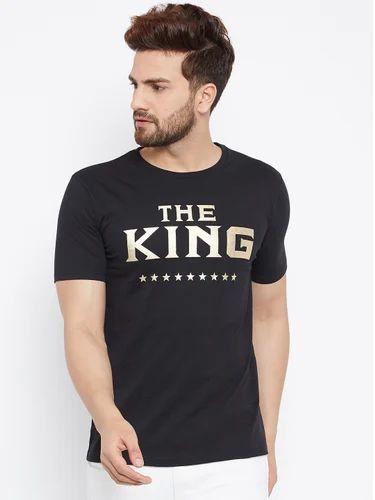 6f1d79939 Men's Cotton Half Sleeves Round Neck Printed Black T-Shirt, Rs 200 ...