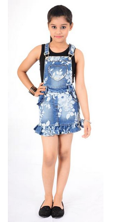 e5a1ca141 Naughty Ninos Girls Blue Floral Print Denim Pinafore Dress at Rs ...