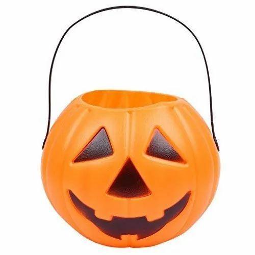 Girls And Boys Plastic Halloween Candy Bucket Portable Pumpkin