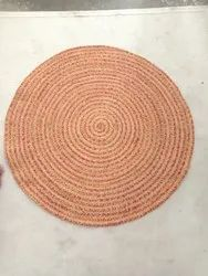 Jute Braids Natural Braided Round Rugs, For Floor, Size: 120 Cm