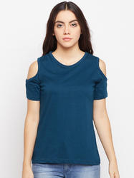 Women's Half Sleeve Round Neck 100% Cotton T-shirt