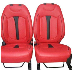 Faux Leather Red Plain Car Seat Covers
