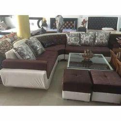 bc46e37f7 Wooden U Shape Antique Floral Sofa